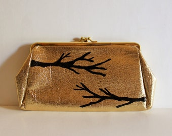 Prom Purse - VINTAGE gold CLUTCH with hand painted branches