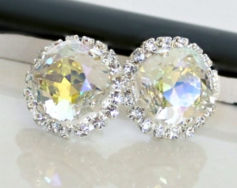 Pale Yellow and Clear Swarovski Crystals Framed with Halo Crystals on Silver Post/Stud Earrings