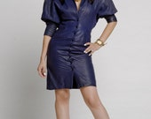 Navy Blue Crocodile Leather Obsession Dress ( reserved)