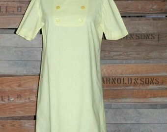 Vintage Shift Dress - 1960s 1970s Yellow Shift Dress with Mandarin Collar - Smart Casual Dress - Day Dress - 38 Bust