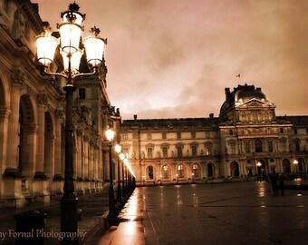 Paris Photography, Louvre Museum Street Lanterns Lamps, Louvre Lights, Paris Sepia Prints Wall Art, Paris Fine Art Photography, Louvre Print