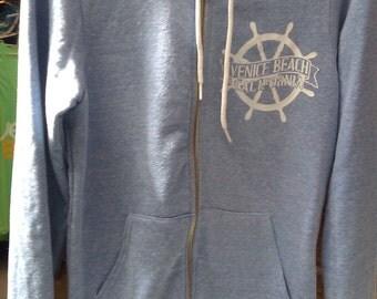Venice Beach, CA Ship Wheel Zipper Hoodie Sweatshirt American Apparel  Unisex    XS S M L  or  XL
