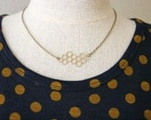 Brass Honeycomb Necklace >> Bee Necklace << Simple Everyday Necklace >> Modern Geometric Necklace