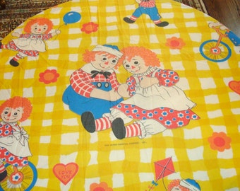 Vintage Raggedy Ann & Andy doll twin fitted sheet fabric gingham hearts 70'S