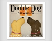Personalize Customizable -  Yellow Brown Black Double Dog LABRADOR Brewing Company graphic art giclee print SIGNED Black Dog