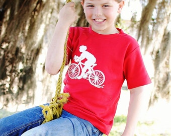 Bicycling Boy Nostalgic Graphic Tee in Short Sleeves - Red with White