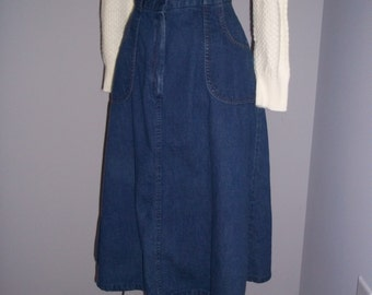 Vintage 70s 80s 1980s Denim High Waist Skirt - Peerless - Small