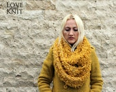 Knit Infinity Scarf / Womens Circle Scarf / Mustard Yellow Infinity Scarf / Hood Scarf / Infinity Scarf / Gift for Her / Womens Gift / Cowl