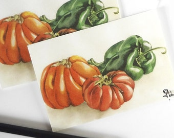 art print card set, tomatoes and peppers, garden cards, watercolor note card, blank cards