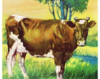 antique farm animal cow in pasture by the river illustration DIGITAL DOWLOAD