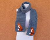 Scarf - Fox Scarf - Country Blue Scarf - Crochet Scarf - Crocheted Scarf for Men or Women - Unisex - Light Blue Scarf - Woodland Scarves