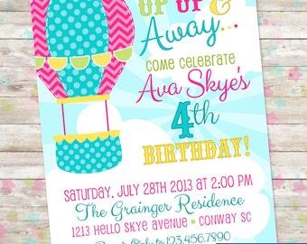 Up Up and Away Invitation, Hot Air Balloon, Clouds, Soaring Birthday, Balloons Invite, Digital or Printed