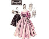 50s Cocktail Wedding Prom Dress & Stole Pattern Vogue Special Design 4465 Evening Gown Vintage Sewing Pattern Size 14 Bust 32 UNUSED FF