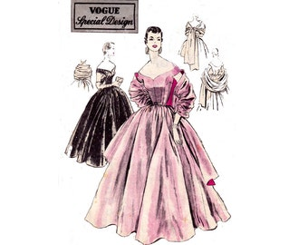 Vogue Special Design 4465 Womens Cocktail Wedding Prom Gown & Stole 1950s Vintage Sewing Pattern Size 14 Bust 32 UNUSED Factory Folded