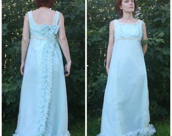 1960s Gown Formal Party XS S Aqua Blue Vintage 60s Full Dress Sleeveless