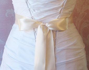 Double Face Cream Satin Ribbon, 1.5 Inch Wde, Antique Ivory, Ivory Ribbon Sash, Bridal Sash, Wedding Belt, 4 Yards