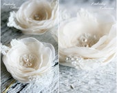 Bridal Hair Flowers, Set of 3, Ivory Flowers, Champagne Flowers, Bridal Headpiece, Hair Flowers, Flower Pin