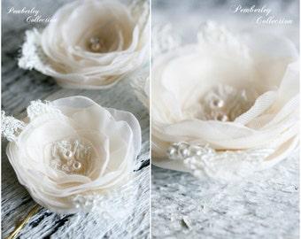 Bridal Hair Flowers, Set of 3, Ivory Flowers, Champagne Flowers, Bridal Headpiece, Hair Flowers, Flower Pin