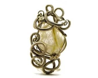 Victorian Pendant, Vintage Pendant, Silver Pendant, Wire Wrap Pendant, Golden Rutilated Quartz Pendant, Necklace Pendant