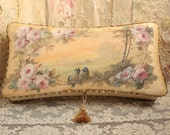 RESERVED for DIANE Large Antique Silk Ribbon Work Vanity Box