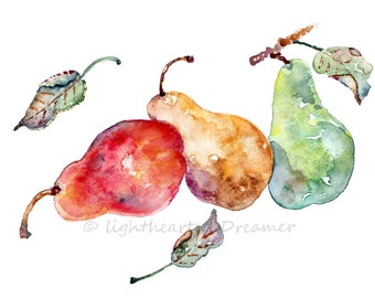Pear Print, Watercolor Kitchen Art, Kitchen Decor, Kitchen Watercolor Print, Watercolor Painting, Kitchen Wall Art, red, green, gold