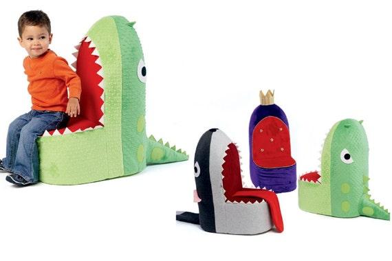 Kids 4 Button Recliner Chair – Dinosaur, Blue | Cool Kids Chairs