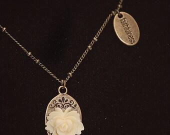 Handmade Ivory Rose Pendant Necklace Ivory Flower Necklace Ivory Rose Necklace Resin Flower Jewelry