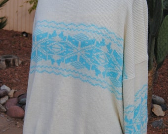 Vintage 1980's Sweater with Graphic Geometric Design