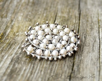 Sterling Silver and Freshwater Pearls White Brooch OOAK
