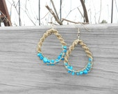 Aqua Blue Hoop Earrings - Natural Hemp and Gemstone Jewelry