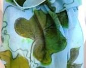 silk scarf Kudzu sage green chartreuse sky blue extra long chiffon hand painted