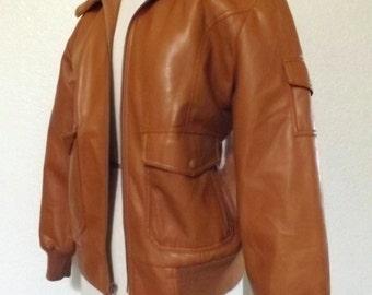 Vintage Faux Leather Brown Bomber Jacket  - Vegan Vinyl & Faux Shearling Lined, Shoulder Pocket