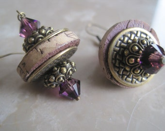 Wine Cork Earrings Accented with Purple Swarovski Crystals and Antique Gold Metal