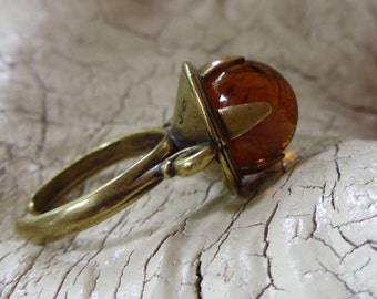 Pools of Light Antique -:- Vintage Cufflink Glass - Converted Ring - Amber - Topaz Glass
