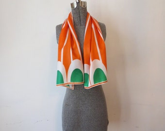Vintage '60s Mod, Super Bright Orange Striped & Green Scalloped Long, Skinny Scarf
