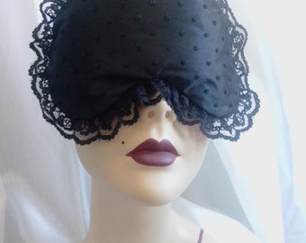 Sleeping Beauty - Black Boudoir Sleep mask eye mask with spotted tulle by Love Me Sugar