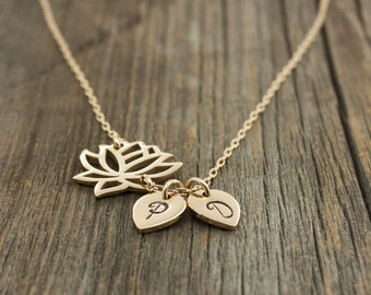 Personalized Lotus Flower Necklace - Yoga Jewelry . Gold Lotus Flower Pendant . 14K Gold Fill . His & Her Initials