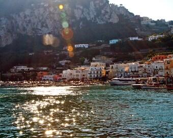 Capri Italy Print - Mediterranean Sea Decor - Sunshine Photo - Italian Village Photography - Turquoise Wall Art - Travel Photography