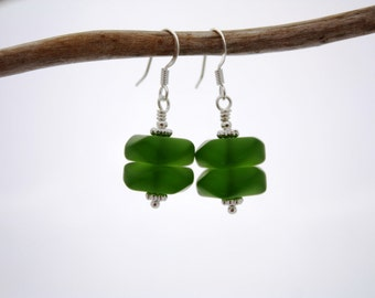 Green Sea Glass Earrings, Seaglass Earrings Beach Glass Earrings Seaglass Jewelry Green Earrings Sea Glass Jewelry, Beach Jewelry, Ocean 090
