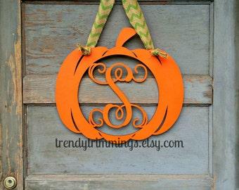 Pumpkin Monogram- Holiday Trimmings™ Wooden Monogram Letter- Interlocking Script Initial, Door Hanger Wreath- Halloween, Fall- unpainted