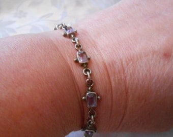 Vintage bracelet, amethyst and sterling silver bracelet, elegant flexible bracelet, marked 925 bracelet