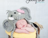 Girl Elephant Hat Photo Prop - Baby Elephant Hat with Bow Clip - Halloween Costume Elephant - Infant Halloween Costume - by JoJo's Bootique