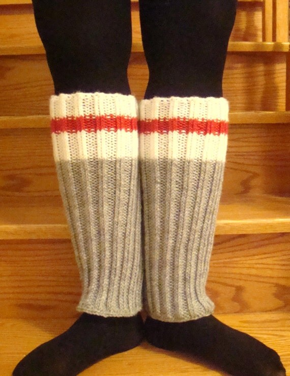 Knitting Patterns For Work Socks : Grey Work Sock Style Knitted Leg Warmers by RavenAndKiwi on Etsy