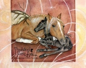 """SALE: Horse And Foal Fantasy Art Print, Fairy Artwork, Pegasus Painting, Original Acrylic Art, Mother And Baby, Equine Art, """"Winged Things"""""""
