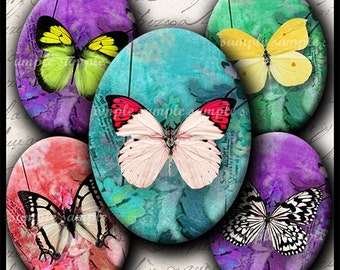INSTANT DOWNLOAD Colorful Butterflies (640) 4x6 and 8.5x11 Oval 30x40mm Digital Collage Sheet  glass tiles cabochon cameo pendants images