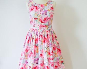 Bridesmaid dress, floral dress, cotton dress, 50's dress, mad men dress CUSTOM MADE
