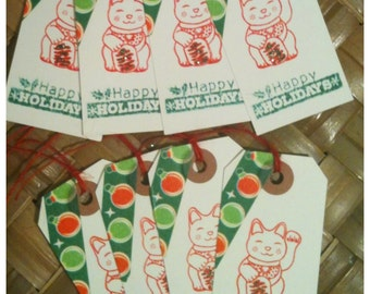 Christmas Maneki Neko Japanese Lucky Cat Red Green Washi Tape Happy Holidays Handmade Gift Tags Set of 8