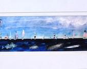 Race Day print of sailboat art by Mary Blocksma 10x20 Mat