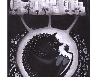 Hibernation of Monsters 5x7 print