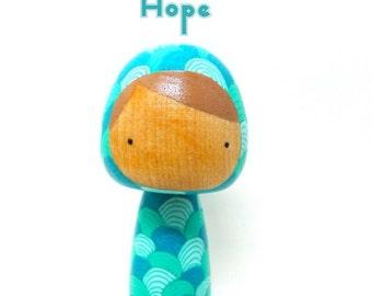 Wooden Peg Doll Kokeshi Shades of Blue Hooded Hope